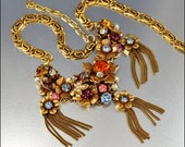 RESERVED Vintage Rhinestone Necklace Gold Chain Tassel Pearl Glass Blue Flower 1940s Jewelry
