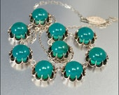 Art Deco Necklace Silver Chyrsoprase Chinese Green 1930s Vintage Jewelry