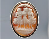 Vintage Victorian Cameo Brooch Pendant Sterling Silver Three Graces Antique 1800s Jewelry