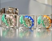 Art Deco Bracelet Sterling Silver Enamel Marcasites Flower Vintage 1920s Jewelry
