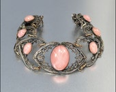 Art Deco Bracelet Pink Star Sapphire Glass Silver Filigree Vintage 1920s Jewelry