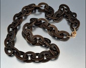Antique Victorian Necklace Vulcanite Black Goth Mourning Jewelry Vintage 1860s Jewelry