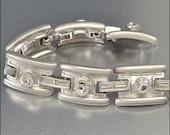 Vintage Rhinestone Bracelet Matte Silver Wide Rivoli Crystal 1980s Costume Jewelry