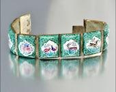 Art Deco Bracelet Persian Enamel Hand Painted Silver Ethnic Vintage 1930s Jewelry