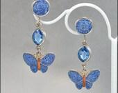 Art Deco Earrings Enamel Butterfly Blue Glass Dangle Silver Vintage 1920s Jewelry