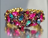 Vintage Weiss Rhinestone Bracelet Bangle Clamper Aurora Borealis Gold 1950s Jewelry
