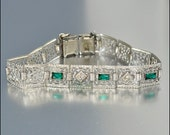 Antique Edwardian Deco Bracelet Emerald Rhinestone Silver Filigree EIF Vintage Wedding Jewelry