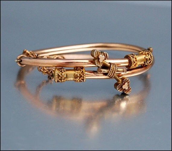 Antique Rose Gold F Clover Victorian Bangle Bracelet