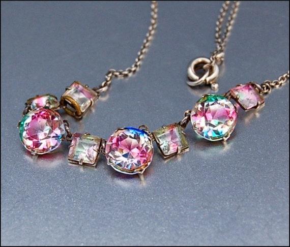 Silver Rock Crystal Art Deco Necklace Rainbow Iris
