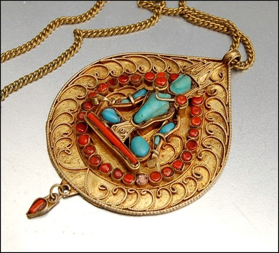 Ethnic Coral Turquoise Necklace Gold Gilt Brass Large Ornate