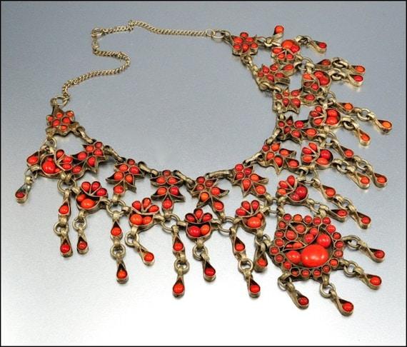 Coral Silver Huge Ethnic Necklace Fringe Bib Vintage Jewelry