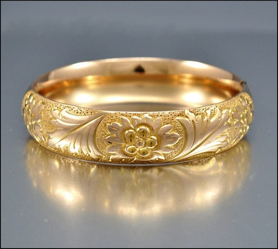 Victorian Bracelet Gold Bangle Wide Engraved Vintage 1900s Jewelry