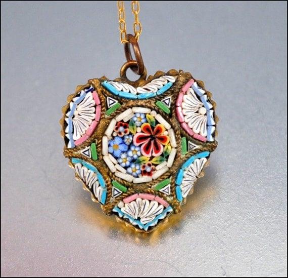 italian micro mosaic heart necklace vintage pendant 1930s