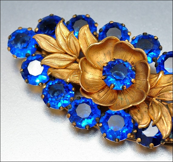 Art Deco Gold Sapphire Glass Brooch Large Vintage 1920s Jewelry