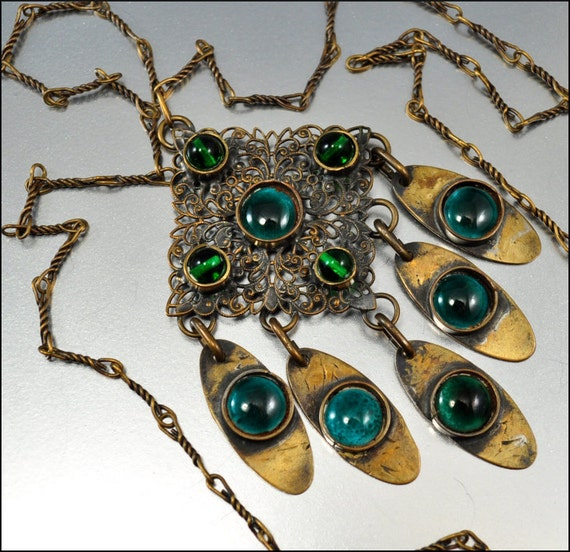 Reserved Vintage Brass Green Peacock Eye Glass Artisan Necklace