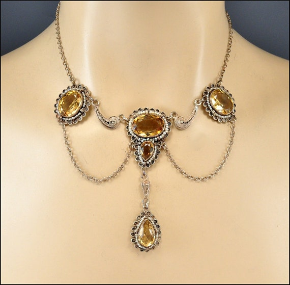 Edwardian Necklace Sterling Silver Citrine Pearl Antique 1900 Jewelry
