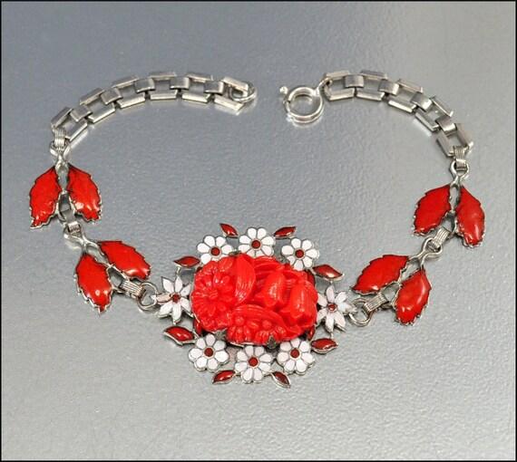 Art Deco Bracelet Enamel Coral Glass Silver Vintage 1930s Jewelry Coro