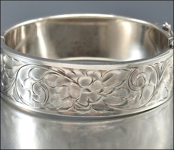 Art Deco Bracelet Sterling Silver Bangle Wide Floral Engraved Vintage 1940s Jewelry