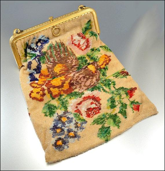 Art Deco Purse Beaded Tapestry Gold Hand Bag Handbag Vintage 1920s Accessory