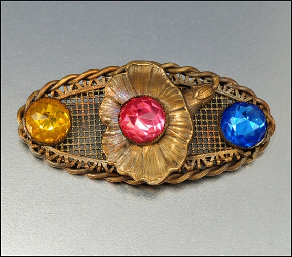 Antique Brooch Victorian Jewelry Glass Gold Brass Morning Glory Flower 1900s Vintage Jewelry