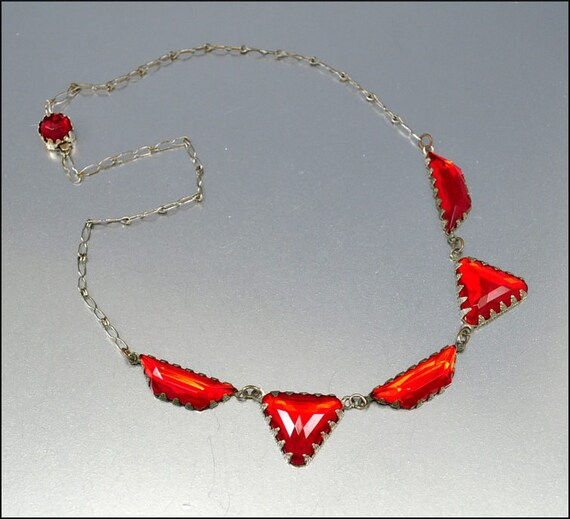 Art Deco Necklace Red Vauxhall Glass Silver Vintage 1930s Jewelry