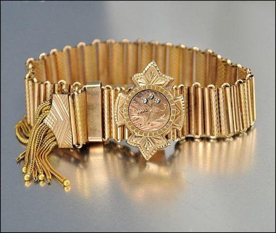 Victorian Bracelet Rose Gold Peacock Tassel Slide Antique 1860 Jewelry