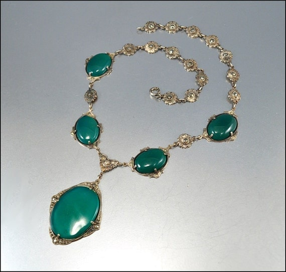 Art Deco Necklace Silver Marcasite Chrysoprase Glass Antique Jewelry Vintage Jewelry Green