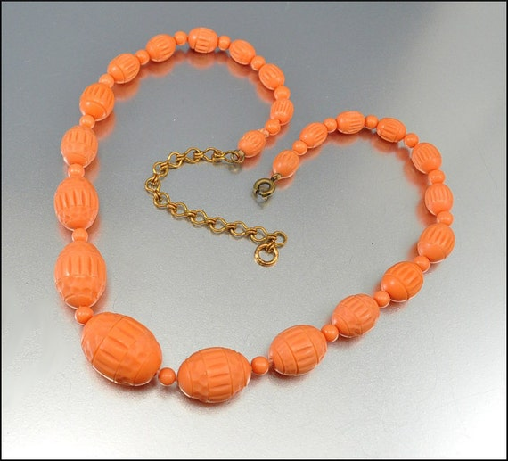 Celluloid Necklace Art Deco Jewelry Coral Bead Carved Vintage 1920s Antique Jewelry