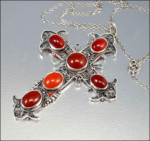 Antique Victorian Necklace Sterling Silver Cross Filigree Carnelian Italian Pendant 1880s Vintage Jewelry