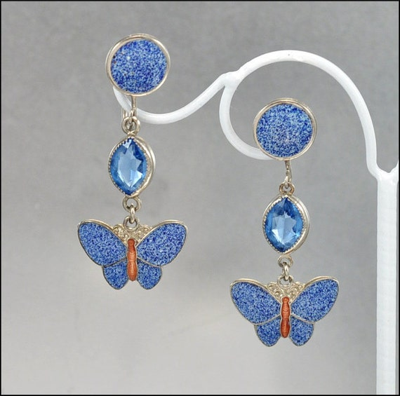 Art Deco Earrings Enamel Butterfly Blue Glass Dangle Silver Vintage 1920s Jewelry