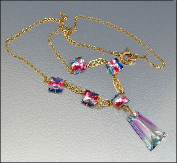 Art Deco Crystal Necklace Gold Fill Rainbow Iris Glass Vintage 1930s Jewelry