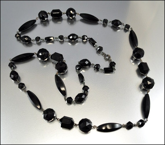 Edwardian Victorian Necklace French Jet Glass Beaded Long Black Vintage 1900s Jewelry
