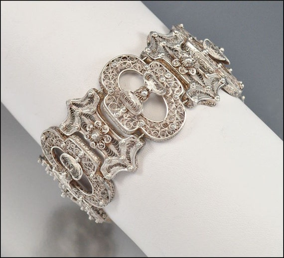 Antique Victorian Bracelet French Silver Filigree Wide Cannetille Bow 1800s Jewelry