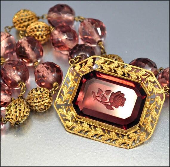 Czech Art Deco Necklace Glass Intaglio Flower Cameo Purple Bead Gold VIntage 1920s Jewelry