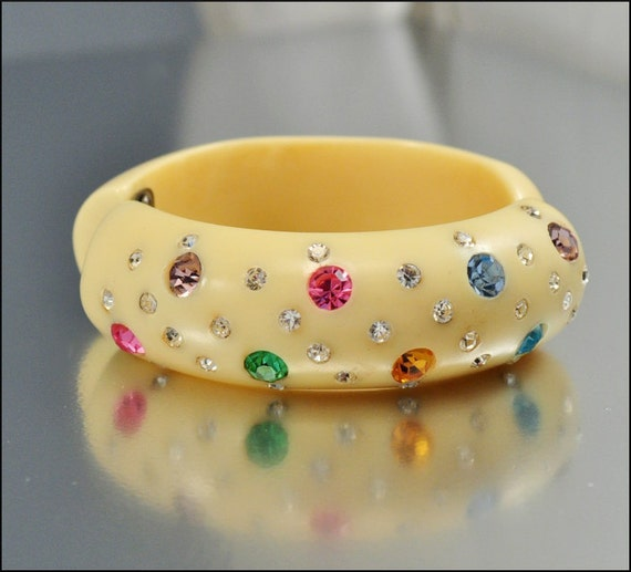 Vintage Rhinestone Bracelet Bangle Clamper Colorful Lucite Wide Chunky 1950s Jewelry