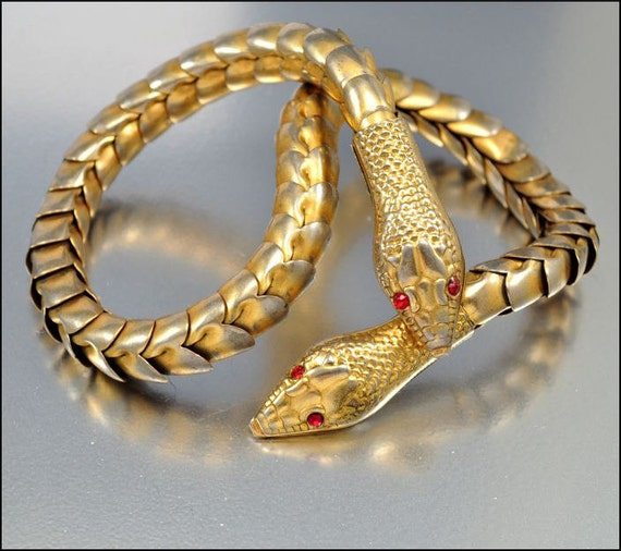 RESERVED Art Deco Necklace Snake Gold Red Rhinestone Articulated Vintage 1930s Jewelry Goth