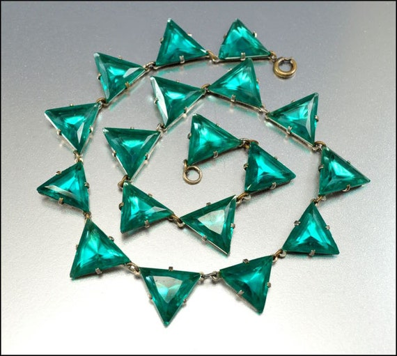 Art Deco Necklace Czech Teal Green Glass Geometric Silver Vintage 1920s Jewelry Egyptian