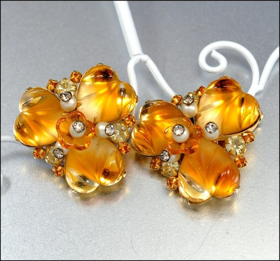 Caviness Vintage Rhinestone Earrings Heart Fruit Salad Amber Pearl Flower Gold 1950s Jewelry