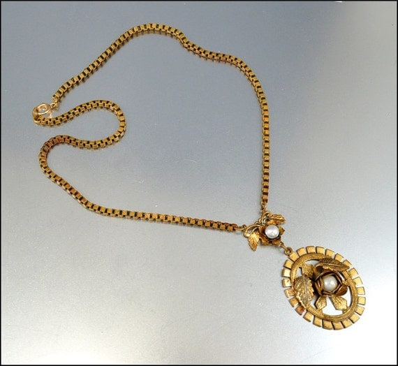 Art Deco Necklace Genuine Pearl Gold Gilt Box Chain Flower Vintage 1930s Jewelry