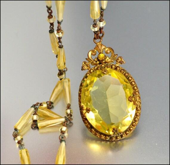 Art Deco Necklace Czech Glass Bead Rhinestone Gold Vintage Jewelry 1920s Citrine Yellow