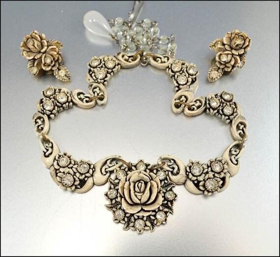 Vintage Featherlite Necklace Earrings Celluloid Rhinestone Enamel Bubblelite 1950s Jewelry