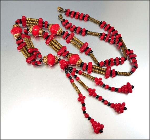 Art Deco Red Glass Necklace Gold Sautoir Beaded Long Vintage 1930s Jewelry