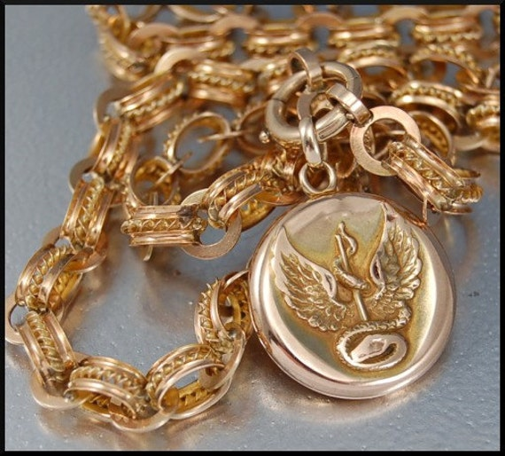 RARE Antique VICTORIAN 10K GOLD SNAKE Locket Ornate Chain NECKLACE reserved for kinkajousylv
