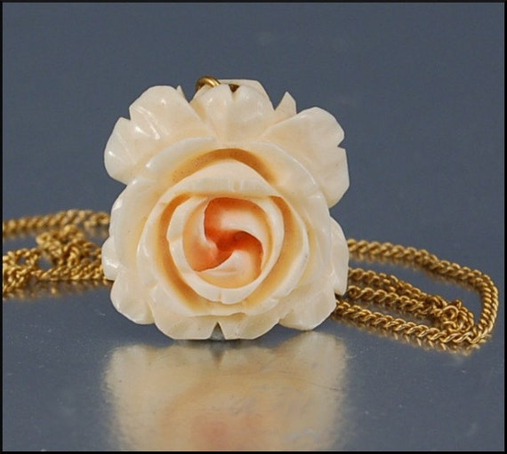 Carved Ivory PINK ROSE Bone Vintage Necklace