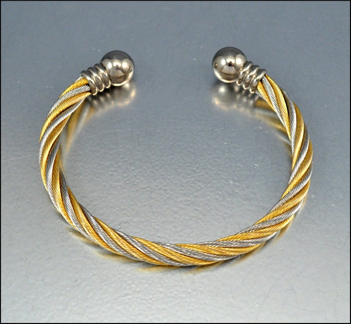 Vintage Silver Gold Twisted Wire Cuff Bangle Bracelet