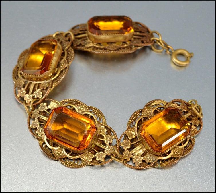 Art Deco Bracelet Czech Glass Amber Gold Vintage 1920s Jewelry