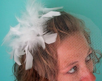 Old Hollywood WHITE OR BLACK feather blusher veil - Ready to ship