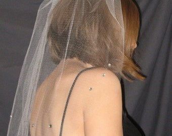 Rhinestone Bachelorette Veil with white tulle netting - READY to ship