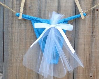 Bridal Panty Lingerie for wedding day TULLE train undies something blue that says I DO size medium - Ships in 24hrs