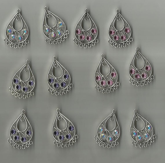 Swarovski Chandelier Components Pewter 12 pc set drop for earrings or pendants